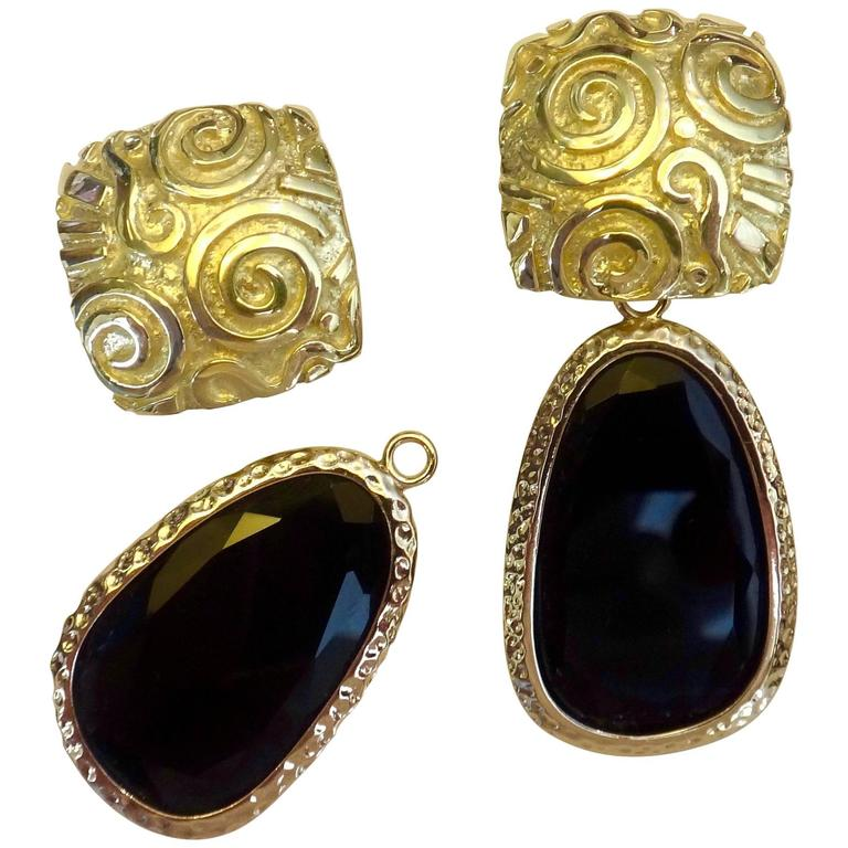 "Michael Kneebone 18 Karat Yellow Gold Black Onyx ""Petroglyph"" Dangle Earrings"