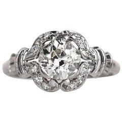 1910 Edwardian Platinum GIA Certified 1.02 Carat Diamond Engagement Ring