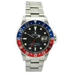 Rolex Stainless Steel GMT Master Pepsi Bezel Wristwatch Model 16750, circa 1981