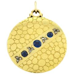 Antique Sapphire Diamond Gold Locket Necklace