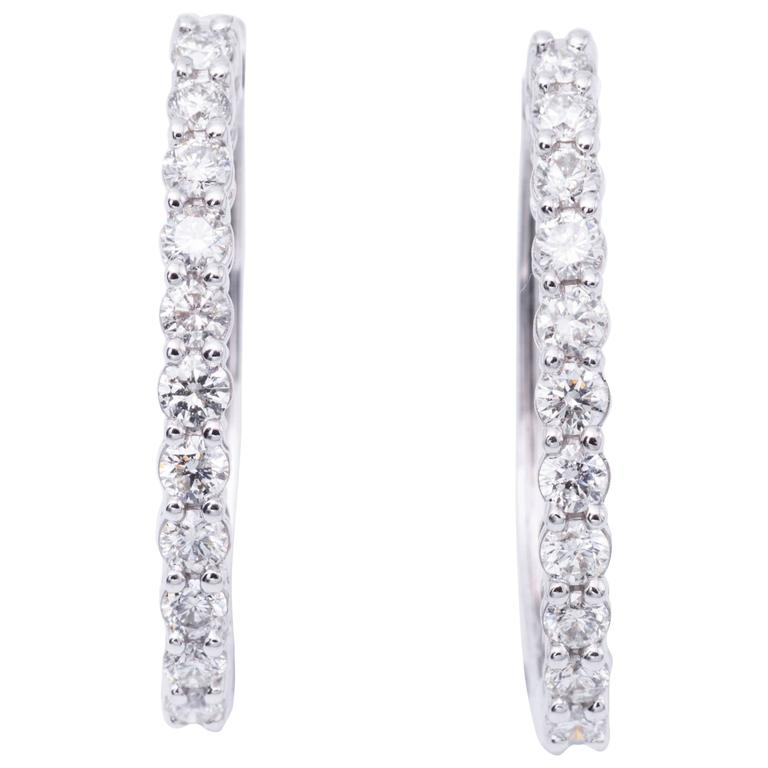 1.00 Carats Diamonds White Gold Hoop Earrings  For Sale