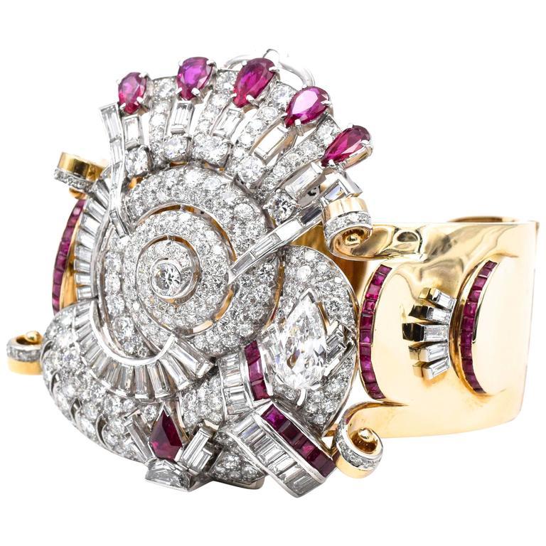 Retro Diamond and Ruby Cuff Bracelet/Brooch