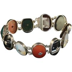 Antique Victorian Scottish Silver Agate Forget Me Not Bracelet circa 1860
