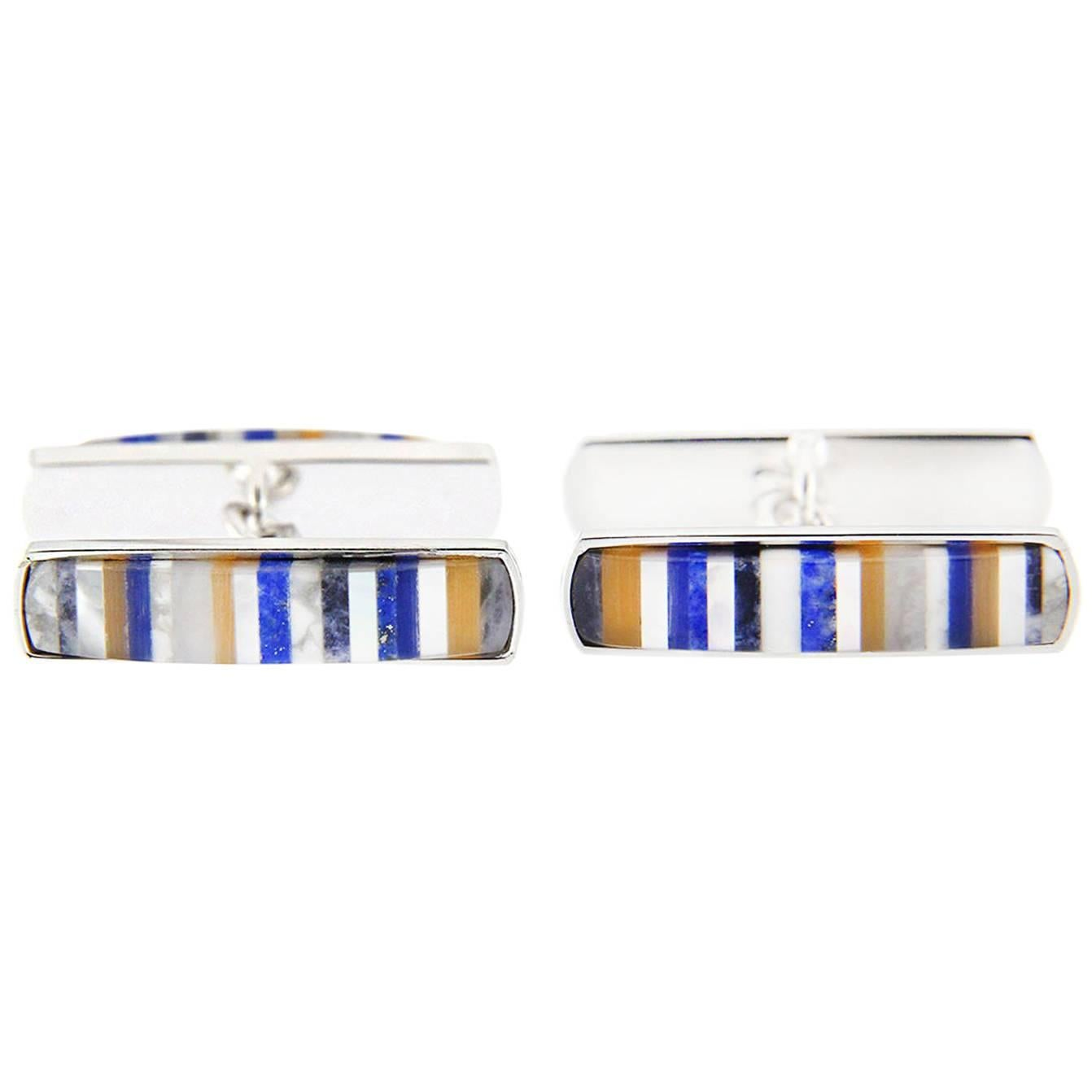 Jona Semi Precious Stone and Mother-of-Pearl Sterling Silver Cufflinks