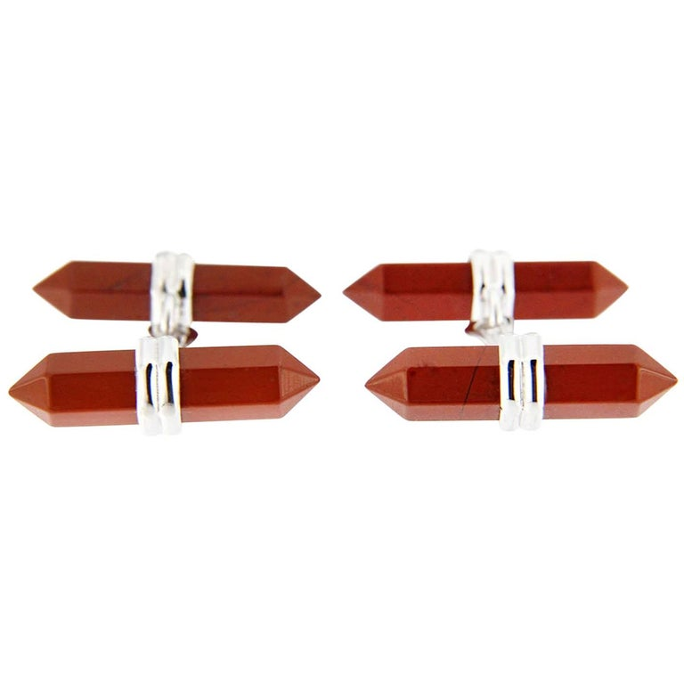 Jona Black Red Jasper Bar Sterling Silver Cufflinks For Sale
