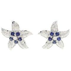 Luise Baguette Cut Diamond Blue Sapphire Star Earrings