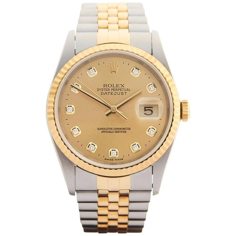 Rolex Stainless Steel Yellow Gold Datejust Diamond Dial Automatic Wristwatch For Sale