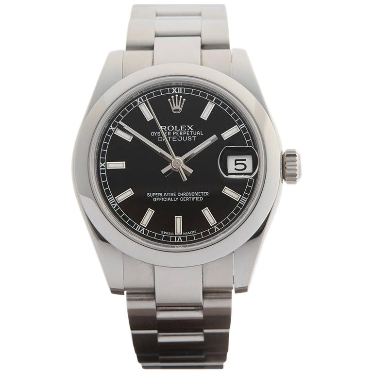 Rolex Ladies Stainless Steel Oyster Datejust Automatic Wristwatch 178240