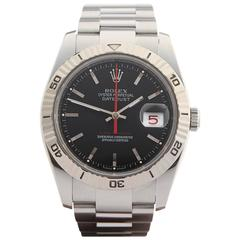 Rolex White Gold Stainless Steel Datejust Turn-o-Graph Automatic Wristwatch
