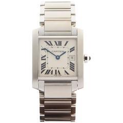 Cartier Ladies Stainless Steel Tank Francaise Quartz Wrist Watch 2465