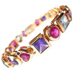 Fine Multi-coloured Rubelite Aquamarine Amethyst Gemstones Bracelet 18k gold