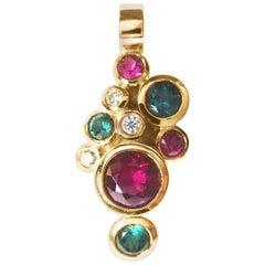 Fine Rubelite Tourmaline Diamond 18k Gold Pendant