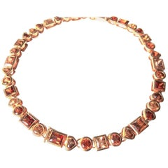 Fine 18k Rosegold Necklace with 42 Citrines