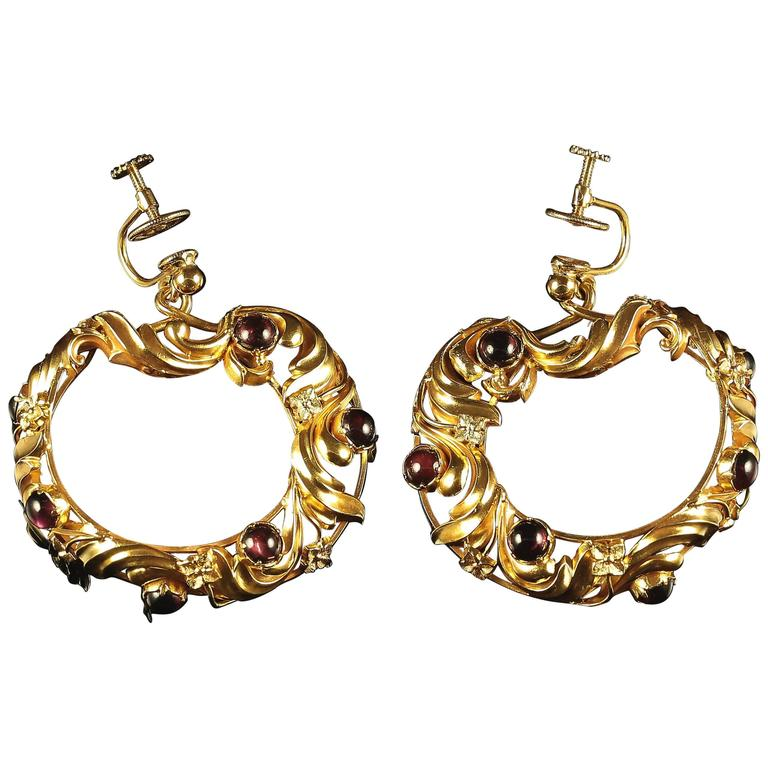 Victorian Garnet Gold Large Screw Fitting Earrings circa 1880