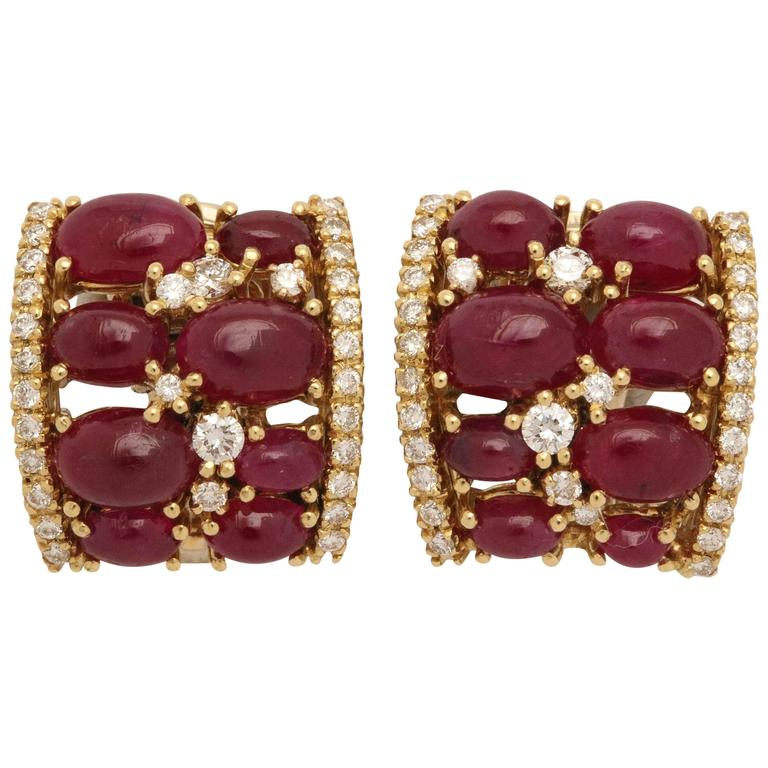 Cabochon Burma Ruby and Diamond Clip-On Earrings