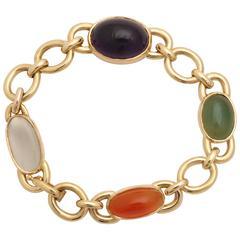 1960s Bezel Set Moonstone, Jade, Carnelian with Amethyst Gold Link Bracelet