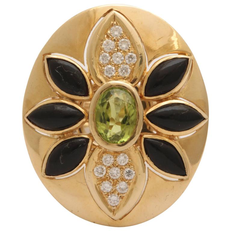 1960s Marquis Cut Onyx, Peridot with Diamonds Large Cocktail Gold Ring