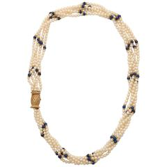 1950s Buccellati Five Strand Pearl and Lapis Lazuli Gold Barrel Clasp Necklace