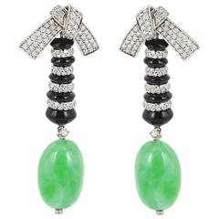 Patrick Mauboussin 32.56 Carat Jade Onyx Diamond White Gold Earrings