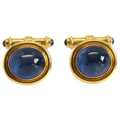 Large Deakin and Francis Gold Sapphire Cabochon Cufflinks