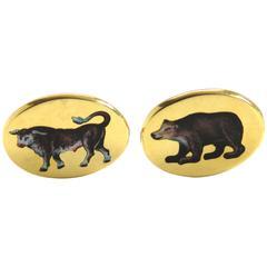 Deakin & Francis Gold Bull Bear Stockbroker Cufflinks