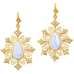 Lauren Harper Rainbow Moonstone, .61 Carats Diamonds Yellow Gold Earrings