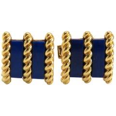 1970s Tiffany & Co Lapis Gold Cufflinks