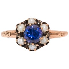 1890s Handmade Deep Purple Amethyst and Seed Pearl Gold Ring