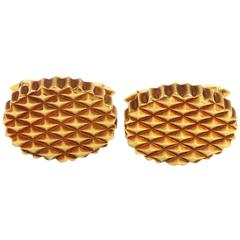Massive 1970s Tiffany & Co. Hobnail Gold Cufflinks
