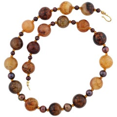Gemjunky Fascinating Rare African Spider Web Jasper & Pearls & Citrines Necklace