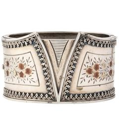 Distinctive Victorian Gold Trimmed Silver Corset Bracelet