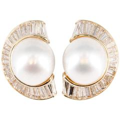Bulgari South Sea Pearl Diamond Gold Earrings