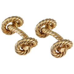 Hermes Paris Gold Twisted Rope Knot Cufflinks