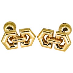 Gold Geometric Shape Cufflinks