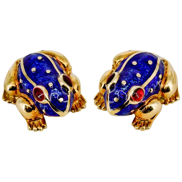 David Webb Enamel Gold Frog Cufflinks For Sale