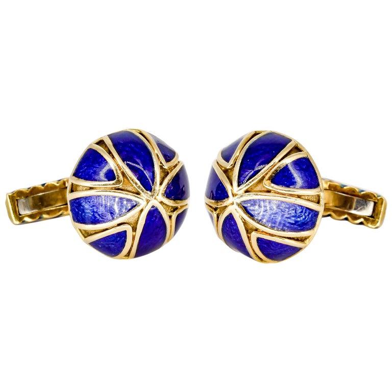 David Webb Blue Enamel Gold Cufflinks For Sale