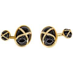 Tiffany & Co. Black Enamel and Gold Cufflinks