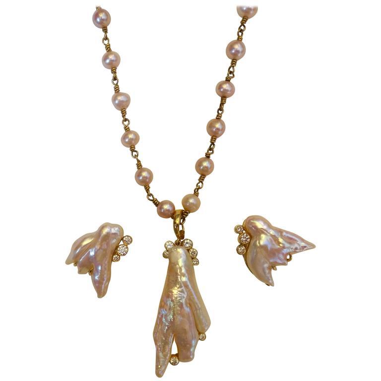 Michael Kneebone Pink Baroque Pearl White Diamond Angel Wing Suite