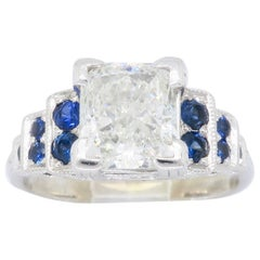 1.40 Carat Princess Cut Diamond and Sapphire Ring
