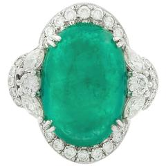 12.17 Carat Colombian Cabochon cut Emerald Diamond White Gold Ring