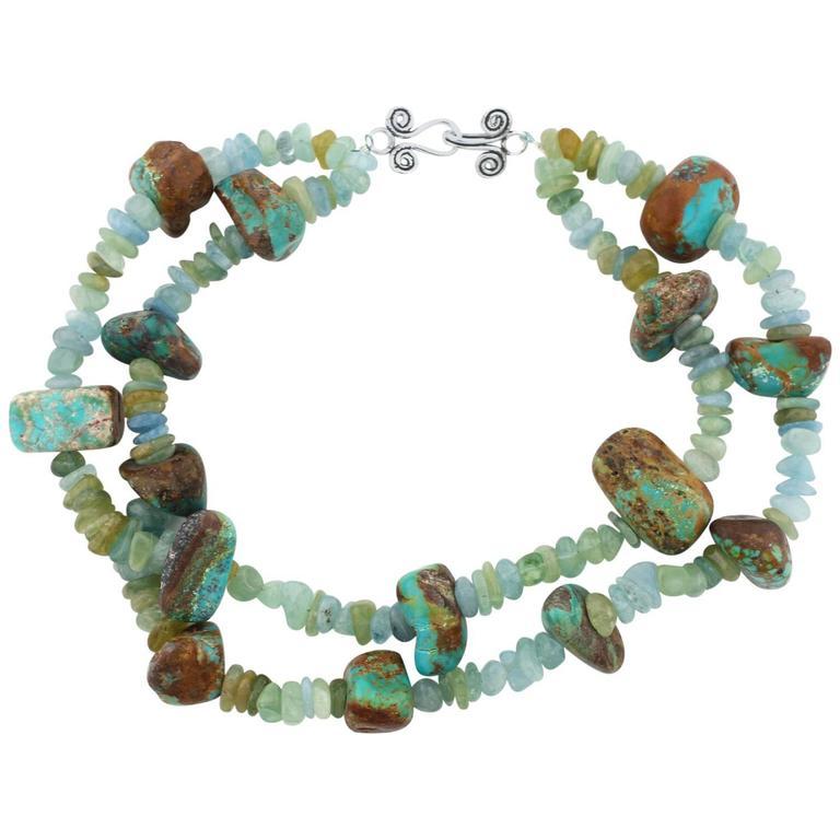 Aquamarines and Turquoise Handmade Necklace