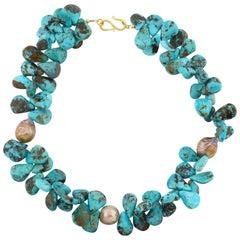 Gemjunky Elegant Natural Royal Beauty Turquoise & Pearl Handmade Necklace