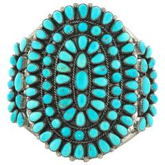 Henry T. Morris Petit Point Turquoise set Sterling Cuff