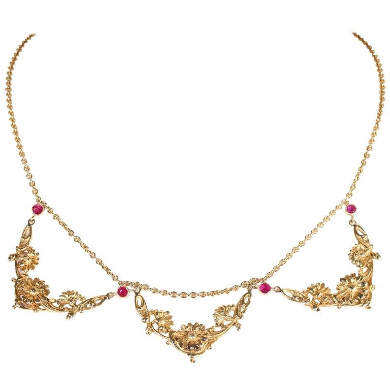 Art Nouveau Ruby Gold Necklace French Floral