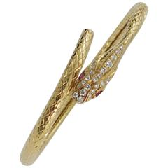 Gold Diamond Ruby Snake Bracelet