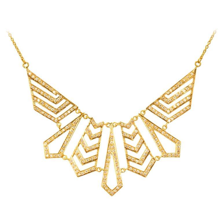Lauren Harper Collection 1.62 Carat Diamond Yellow Gold Statement Necklace