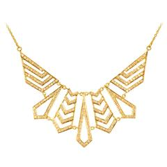 1.62 Carat Diamond Gold Statement Necklace