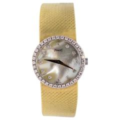 Piaget Yellow and White Gold Diamond Mother-of-Pearl Quartz Wristwatch