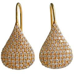 Lauren Harper 1.12 Carats Diamonds Yellow Gold Pear Drop Earrings