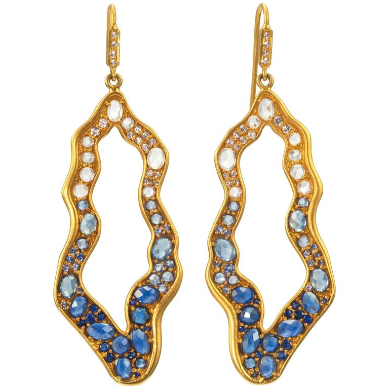 Lauren Harper Collection Blue Sapphire Ombre Drop Gold Earrings